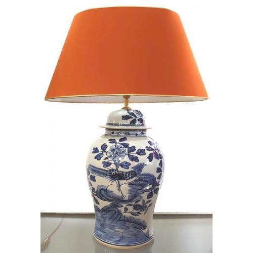 Tafellamp blauw wit vogel groot
