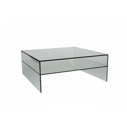 Glazen salontafel 100 x 100 cm