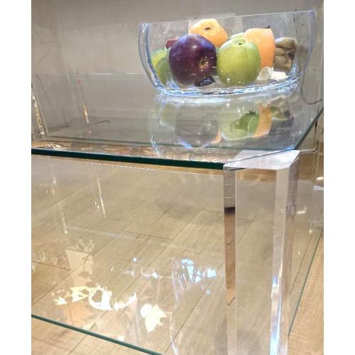 Glazen bijzettafel 40 x 40 cm