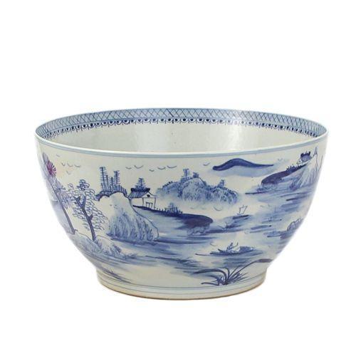 Schaal landschap porselein in blauw wit